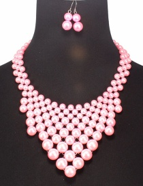 Fashion Pink Pearls Decorated Pure Color Jewelry Sets