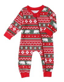 Fashion Red Bear&snowflake Decorated Household Clothes For Baby