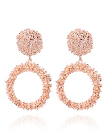 Fashion Rose Gold Pure Color Design Round Shape Earrinsg