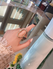 Fashion Gold Color Oval Shape Decorated Ring