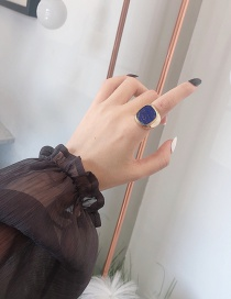 Fashion Blue Square Shape Decorated Ring