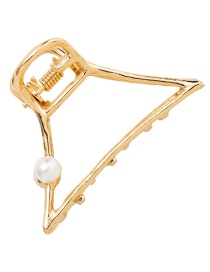 Fashion Gold Color Geometric Shape Decorated Pure Color Hair Clip