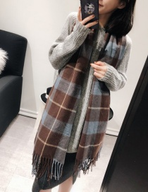 Fashion Brown Grids Pattern Decorated Scarf
