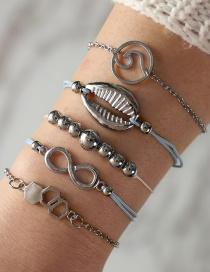 Fashion Silver Color Geometric Shape Decorated Bracelets(5pcs)