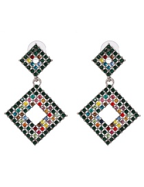 Fashion Multi-color Full Diamond Decorated Earrings