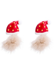 Fashion Red Christmas Hat Shape Decorated Earrings