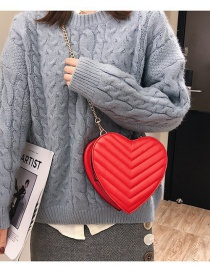 Fashion Red Heart Shape Decorated Shoulder Bag