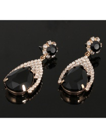 Fashion Black Waterdrop Shape Diamond Decorated Earrings