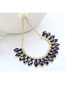 Fashion Sapphire Blue Waterdrop Shape Diamond Decorated Necklace