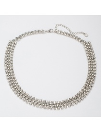Fashion Silver Color Chain&diamond Design Pure Color Necklace