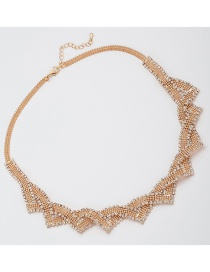 Fashion Gold Color Diamond Decorated Pure Color Necklace