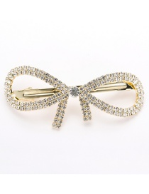 Fashion Gold Color Bowknot Decorated Pure Color Hair Clip