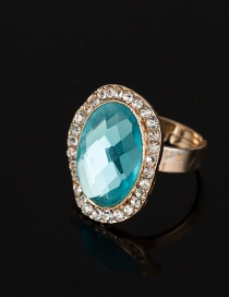 Fashion Pale Blue Oval Shape Diamond Decorated Ring