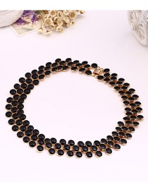 Fashion Black Beads Decorated Pure Color Choker