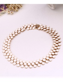 Fashion White Beads Decorated Pure Color Choker