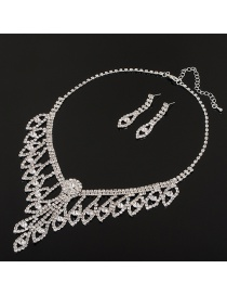 Fashion Silver Color Diamond Decorated Bridal Jewelry Sets