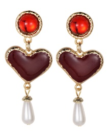 Fashion Claret Red Pearls Decorated Heart Shape Earrings