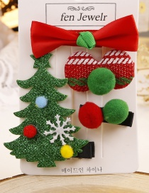 Lovely Red+green Christmas Tree&snowflake Decorated Hair Clip(4pcs)