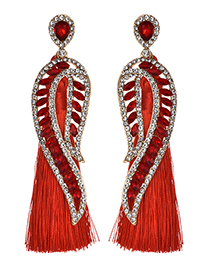 Fashion Red Diamond Decorated Long Tassel Earrings