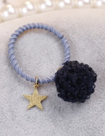 Lovely Navy Star Shape&fuzzy Ball Decorated Hair Band(1pc)
