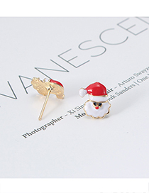Fashion Red+white Santa Claus Shape Design Earrings