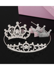 Fashion Silver Color Crown Shape Decorated Hair Accessories(1pcs Hair Hoop+1pcs Comb+2pcs Hair Clip)