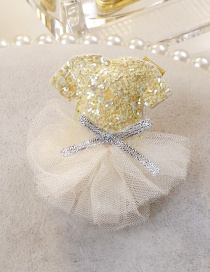 Fashion Light Yellow Dress Shape Decorated Hair Clip