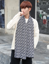 Fashion White+black Color Matching Design Knitted Men's Scarf