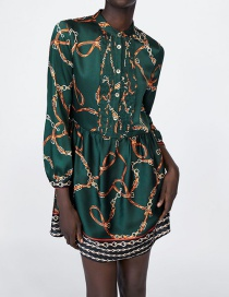 Fashion Green Chains Pattern Decorated Simple Dress