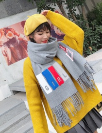 Fashion Light Gray Tassel Decorated Thicken Long Scarf