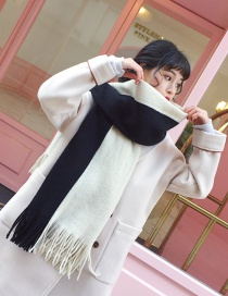 Fashion Black+white Tassel Decorated Color Matching Scarf