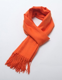 Fashion Orange Tassel Decorated Pure Color Scarf