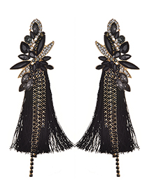 Fashion Black Diamond Decorated Long Tassel Earrings