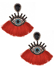 Fashion Red+black Eye Shape Design Tassel Earrings