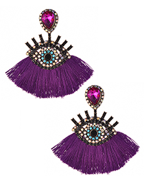 Fashion Plum Red Eye Shape Design Tassel Earrings