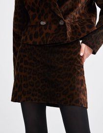 Fashion Brown Leopard Pattern Decorated Simple Skirt