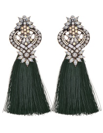 Fashion Dark Green Tassel&diamond Decorated Long Earrings