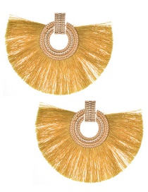 Fashion Yellow Round Shape Decorated Tassel Earrings