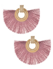 Fashion Pink+gold Color Round Shape Decorated Tassel Earrings