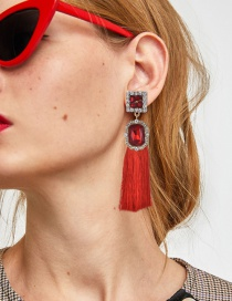 Fashion Red Square Shape Diamond Design Tassel Earrings