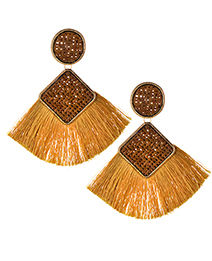 Elegant Khaki Geometric Shape Design Tassel Earrings