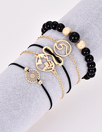 Fashion Black Hollow Out Flower Decorated Bracelet(5pcs)