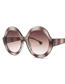 Fashion Brown Round Shape Decorated Sunglasses