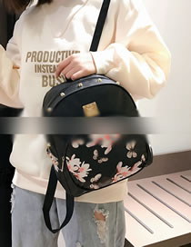 Fashion Black Flower Pattern Decorated Backpack