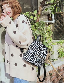 Fashion Black+white Zebra Pattern Decorated Backpack