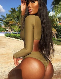 Sexy Green Off-the-shoulder Design Pure Color Swimwear
