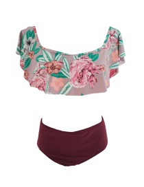 Sexy Claret Red Flower Pattern Decorated Swimwear(2pcs)