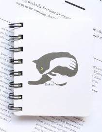 Fashion White Cat Pattern Decorated Notebook(100 Sheets)