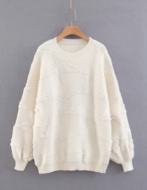 Fashion Beige Star Shape Decorated Sweater