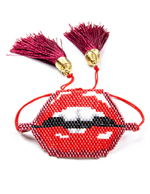 Fashion Red Lips Shape Decorated Tassel Bracelet
